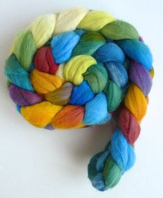 Targhee Wool Roving - Hand Painted Spinning or Felting Fiber, Summer Bouquet