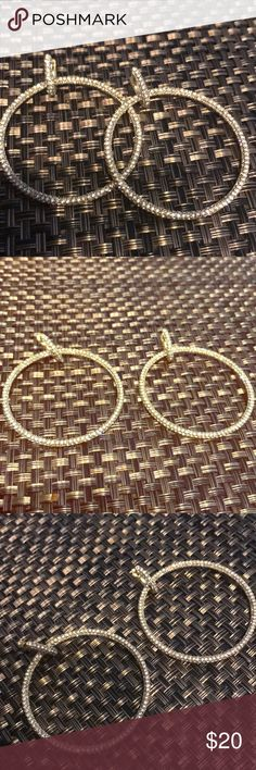 Beautiful 💎 hoop earrings Brand new 💎 earrings. Gold with sparkly stones. Excellent accessories! Jewelry Earrings