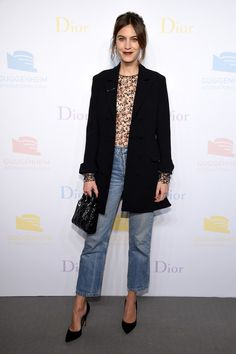 Alexa Chung Oversized Jacket - Alexa Chung went for laid-back sophistication in an oversized black Dior jacket teamed with boyfriend jeans at the 2016 Guggenheim International pre-party.