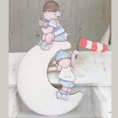 Siluetas madera infantil efecto pintado a mano - PIRATAS SOBRE LA LUNA