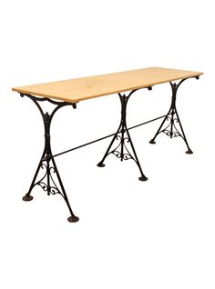 Trestle style table with 19th century cast iron Industrial braces. Giallo marble top. | TheHighBoy | #highboystyle #antiquesmakeitbetter #antiques #tables