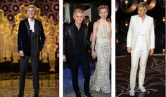 In Saint Laurent's latest tuxedo triumph, the label lavished Oscars host Ellen DeGeneres with three custom-made suits, all reinterpretations of the original Le Smoking