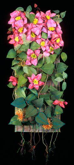 "image of quilt titled ""Clematis, Cultivar"" by Jo Van Patten Flower Petals, Flowers, Clematis Flower, Stems, Trellis, Textile Art, Felting, Fiber Art, Needlework"