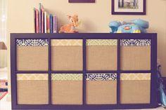 Ikea Expedit & Drona Box redone with Fabric & Burlap Ikea Inspiration, Kallax Box, Diy Home Crafts, Diy Home Decor, Cubes, Ikea Furniture Hacks, Ikea Expedit, Fabric Boxes, Front Rooms