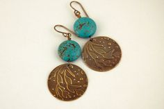 Earrings Turquoise Magnesite Natural Brass by JillianDesigns4u, $15.00