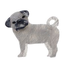 """Erstwilder Limited Edition Pebbles the Pug resin brooch. """"Pebbles the pug needs a companion to keep his spirits up and his paws clean. Much in little Pebbles. Quirky Fashion, Plastic Jewelry, Pug Life, French Artists, Pugs, Sheep, Whimsical, Lion Sculpture, Style Inspiration"""