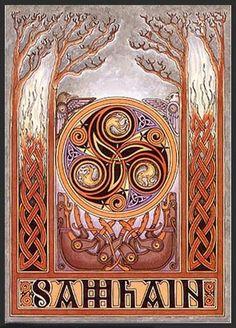 COSTUMES DE SAMHAIN: Samhain era o dia no qual começavam o Ano-Novo celta, por isso era um tempo ideal para términos e começos.  Samhain é um festival do fogo e é a entrada para a parte sombria e fria da Roda do Ano. É em Samhain que as fogueiras são acesas para que os espíritos do outro mundo possam encontrar os caminhos para partirem ao Outro Mundo (País de Verão).