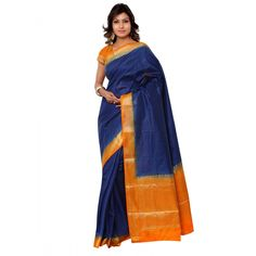 Navy Blue Raw Silk Festival #Saree With Blouse- $40.69