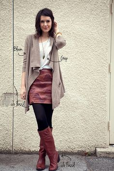 Chevron-ish leather skirt + white tee + tweed cardi + black tights + tan boots + turquoise pendant | Kendi Everyday