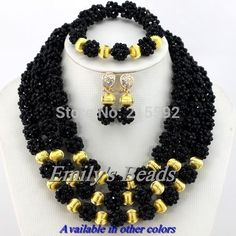 Find More Jewelry Sets Information about Nigerian Wedding Bridal Necklace Bracelet Clip Earrings in Full Set Crystal Beads Jewelry Set in Black Free Shipping AJS487,High Quality Jewelry Sets from Emily's Jewelry DIY Store on Aliexpress.com
