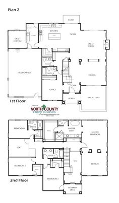 Floor Plan New homes in Carlsbad, CA. New single story and two story homes near the beach. San Diego North County New Floor Plans 2 Story, Two Story House Plans, Two Story Homes, New House Plans, Dream House Plans, Modern House Plans, House Floor Plans, House Plans Australia, Open Floor Concept