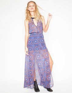 Slit silky maxi dress - Shop the latest Fashion Trends