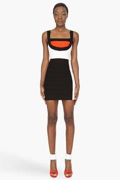 Herve Leger Black And Orange Colorblock Bandage Dress for women | SSENSE