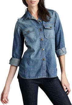 $198, Blue Denim Shirt: Current/Elliott The Perfect Denim Shirt. Sold by Bergdorf Goodman. Click for more info: https://lookastic.com/women/shop_items/155500/redirect