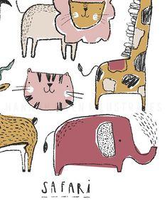 Safari illustrated wall art poster Nursery Bedroom Wall