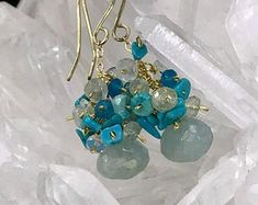 Aquamarine Earrings Gemstone Cluster Earrings Sleeping Beauty Turquoise 14kt Gold Fill Wire Wrap Apatite Aquamarine Blue Grey Ear