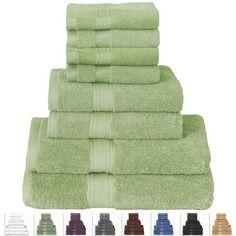 8-Piece Bath Towel Set in Soft Luxury 100-Percent Cotton Sage Green