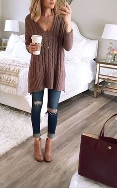 The comfy sweater (perfect shape, length, and style,) the skinny jeans, the booties, and the leather shopping tote - perfect fall outfit