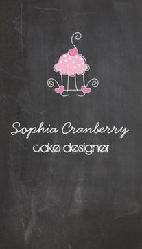 298 best zazzle business cards images on pinterest business cards sweet pink cup cake on chalkboard cake designer business cards http reheart Image collections