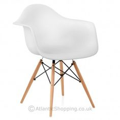 Eames Style Wooden Armchair White