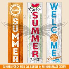 Hey there! Thanks for clicking by to check out my graphics! This Summer Porch Sign Bundle includes Hello Summer, Watermelon Sweet Summertime and Welcome Summer designs and is formatted specifically to scale up to a 12 X 5 sign board and is a digital file Diy Wood Signs, Pallet Signs, Wooden Crafts, Wooden Diy, Diy Crafts, Porch Wooden, Sewing Crafts, Sewing Projects, Front Porch Signs