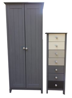 Silver And Grey Country Mid Century 2 Piece Pine Bedroom Furniture Set Wardrobe With Tallboy Dresser Chest Of Drawers Hand Painted Retro Furniture, Furniture Design, Tall Cabinet Storage, Locker Storage, Ikea, Pine Bedroom Furniture, Antique Sideboard, Kiefer, Vintage Chairs