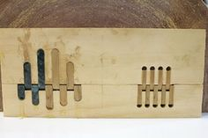 Inlaid Wooden Hinges Glueing the inlays. Wooden Hinges, Brass Hinges, Assemblages, Wooden Art, Woodworking Ideas, Wood Furniture, Home Projects, Join, Community