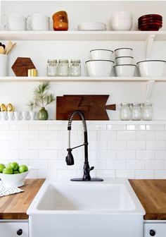 Subway tile and shelving