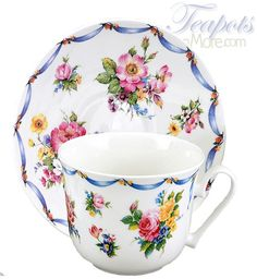 The Roy Kirkham Dresden Bone China Breakfast Cup and Saucer Set features a generous 16 oz. cup. Perfect for tea, coffee, hot chocolate or even soup!