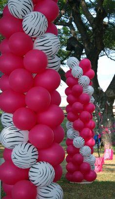 Zebra Print & Magenta Balloons Decoration -