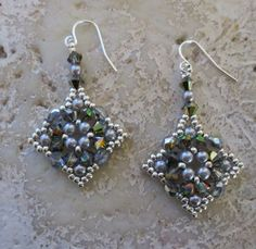 Square Motif Needle Woven Marea Crystal Earrings | ArtfullyDecadent - Jewelry on ArtFire