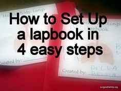How to Set up a Lapbook in 4 Easy Steps http://www.ourgoodfamily.org/2015/01/how-to-build-a-lapbook/