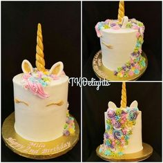 Unicorn double barrel cake Tiers of Funfetti and Strawberry cake covered in buttercream icing. Flowers were iped in bittercream and accented with fondant eyes, ears & horn.