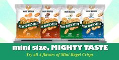 New York Style Mini Bagel Chips - A unique snack with craveable flavors and a healthy halo. http://www.newyorkstyle.com/ #snacks #bagels #fingerfoods #quickbites #healthy