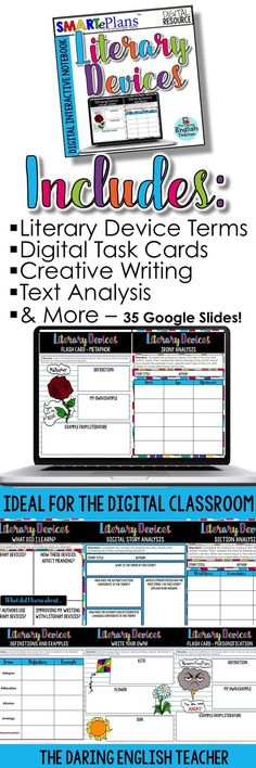 Teach students all about literary devices with this digital interactive notebook. This resource is ideal for the digital middle school and high school English classroom. Google Docs, Google Google, High School Classroom, English Classroom, Google Drive, Teaching Reading, Teaching Ideas, Teaching Skills, Reading Games
