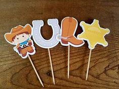 Fiesta vaquero conjunto de 12 Toppers de Cupcake surtidos