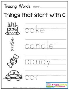 Tracing Words - Things that Start with A-Z Worksheets These worksheets are great for beginning letter recognition, letter formation, printing practice and vocabulary development. Cute graphics to go with each word! Preschool Schedule, Free Kindergarten Worksheets, Kindergarten Language Arts, Preschool Writing, Phonics Worksheets, Tracing Worksheets, Preschool Curriculum, Preschool Alphabet, Handwriting Worksheets