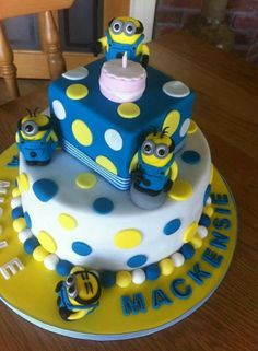 Minions Cake i think we could totally do this with some toys