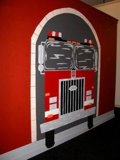 Fire truck painted for cool town facade at our church
