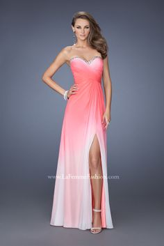 La Femme Coral ombre Prom Dress 2014 www.lacremeprom.com