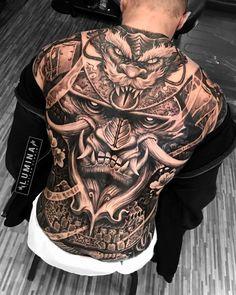 Japanese Back Tattoo, Japanese Tattoo Designs, Japanese Sleeve Tattoos, Japanese Tattoos For Men, Backpiece Tattoo, Hannya Mask Tattoo, Badass Tattoos, Body Art Tattoos, Hand Tattoos