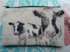 Handmade Makeup Bag Cosmetic Pencil Case Farm Animals Cow Linen Mix Fabric in Clothes, Shoes & Accessories, Women's Accessories, Purses & Wallets | eBay