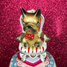 Vtg Valentine Dog In Chair Rhinestone Eyes Red Bow Tie Polka Dots Figurine Japan