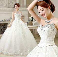 2016 New wedding gown Crystal  Sleeveless white Satin Bridal Wedding Dress Wedding Gown Vestido De Noiva
