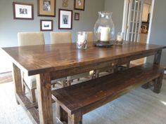 Build your own farmhouse table. Amazing tutorial. Someday I'd like to make this. Or have someone else make it for me. When I have a house though.