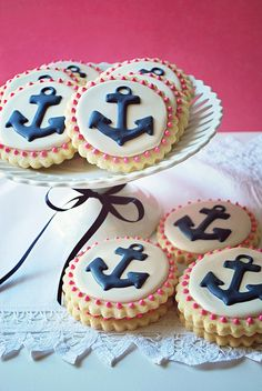 anchor glazed cookies are a nice dessert idea for a nautical bridal shower or wedding - Weddingomania Pink Cookies, Iced Cookies, Cute Cookies, Royal Icing Cookies, Cupcake Cookies, Sugar Cookies, Cupcakes, Nautical Cake, Nautical Party