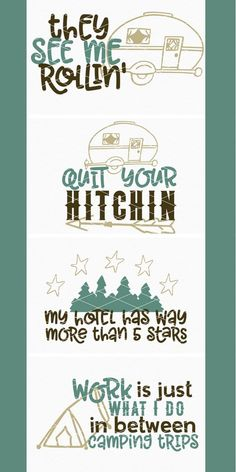Love this camping SVG bundle! They see me rollin' | Quit your hitchin' | My hotel has way more than 5 stars | Work is just what I do in between camping trips | Camping SVG cut files to be used for diy projects with Cricut and Silhouette machines #ad #svg #svgfiles #cricutmade #cricutexplore #silhouette #cameo #camping #camper #camplife #happycamper #vinyl #decals