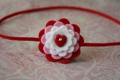 Valentine Headband- Wool Felt Button Flower Headband - Skinny Elastic - Newborn to Adult- Red Heart