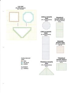 Circle Shape, Triangle Shape, Plastic Canvas Crafts, Plastic Canvas Patterns, Baby Toys, Kids Toys, Shape Puzzles, Puzzle Box, Chart Design