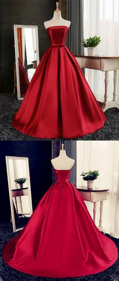 Maroon Satin Strapless Ball Gowns Quinceanera Dresses ,Dark Red Wedding Dresses For Bride